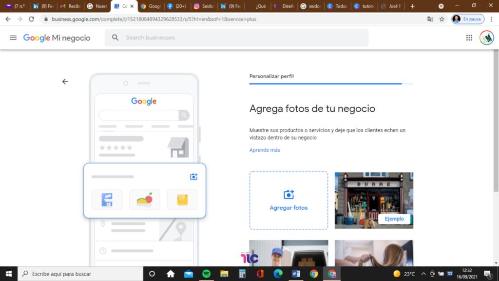 Agrega las fotos a Google My Business