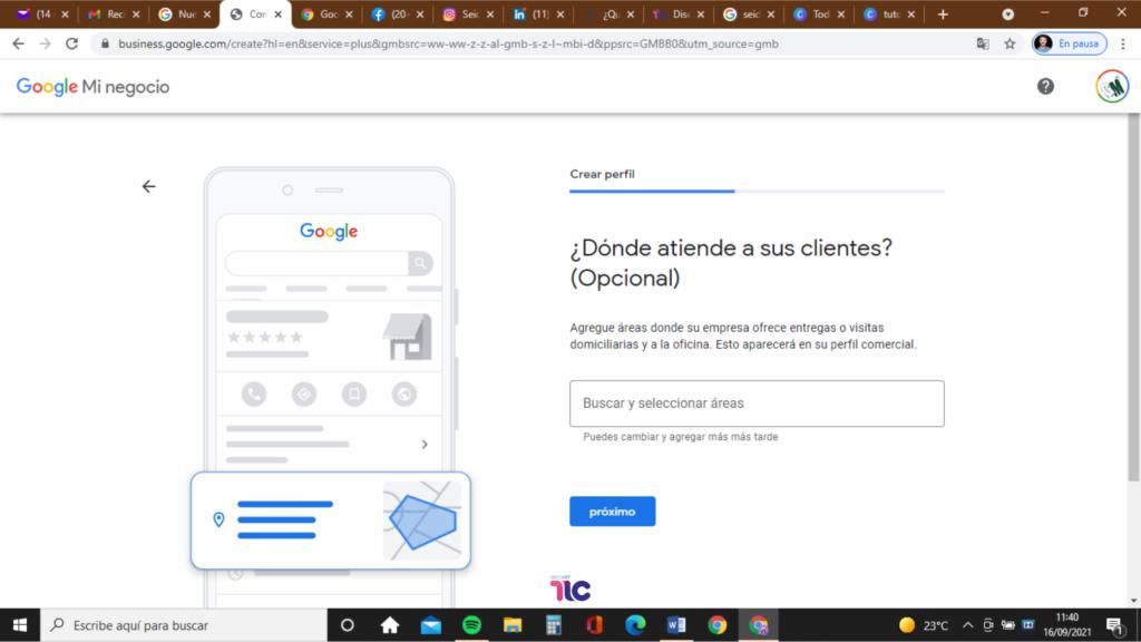 Introduce la dirección de tu empresa en Google My Business