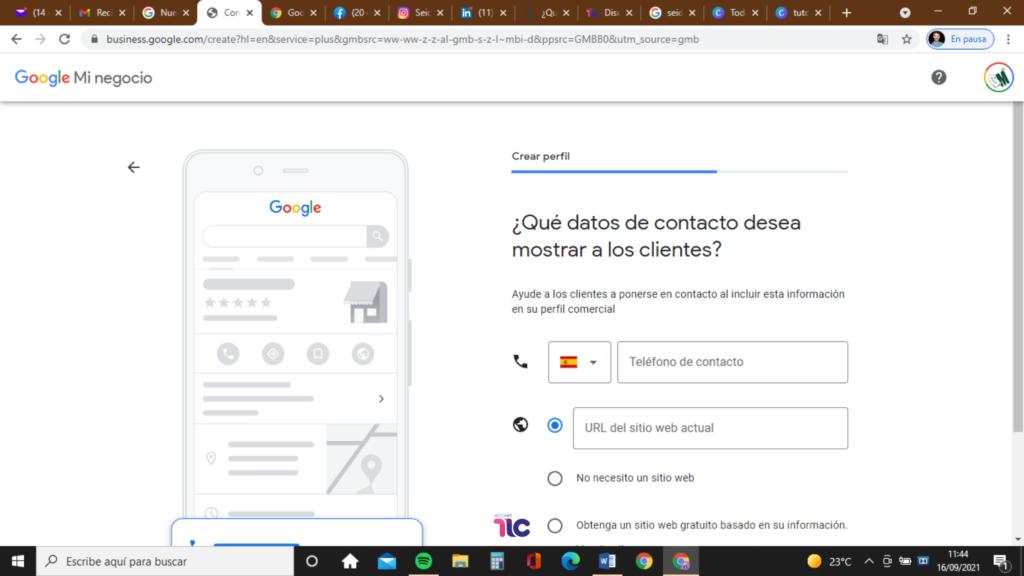 Introduce tus datos en Google My Business