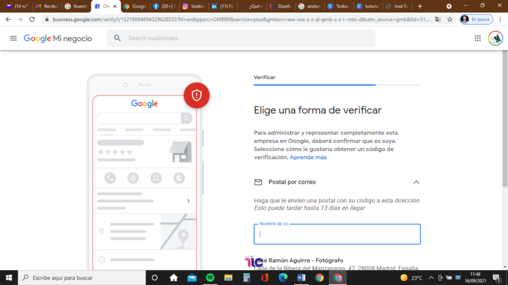 Elige una forma de verificar en Google My Business